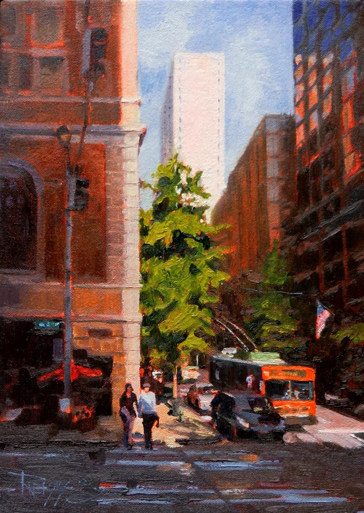 """""""Somewhere on Fourth Street Seattle, cityscape oil painting, by Robin Weiss."""" original fine art by Robin Weiss"""