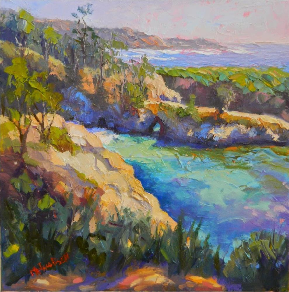 """""""An Afternoon at China Cove, 12x12 , oil, California landscapes, MAryanne Jacobsen art, Point Lobos"""" original fine art by Maryanne Jacobsen"""