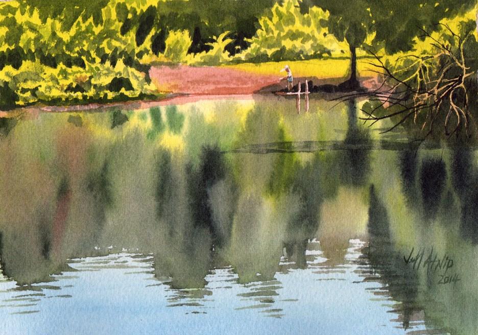"""Farm Pond"" original fine art by Jeff Atnip"