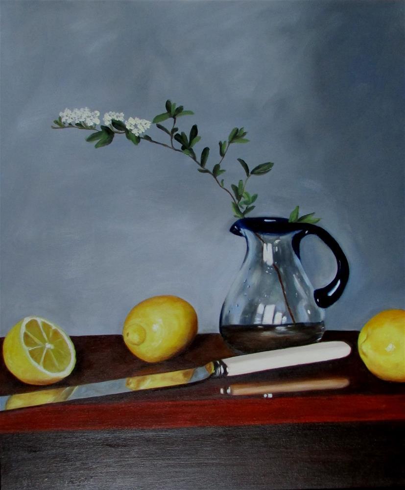 """24 x 20 inch oil Yellow & Blue"" original fine art by Linda Yurgensen"