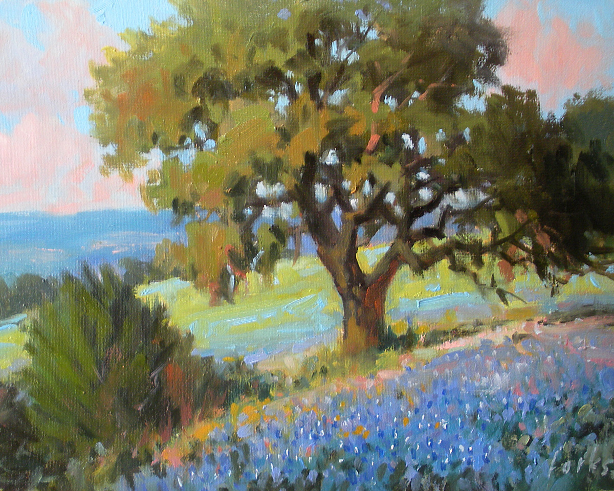 """Hillside Oak"" original fine art by David Forks"