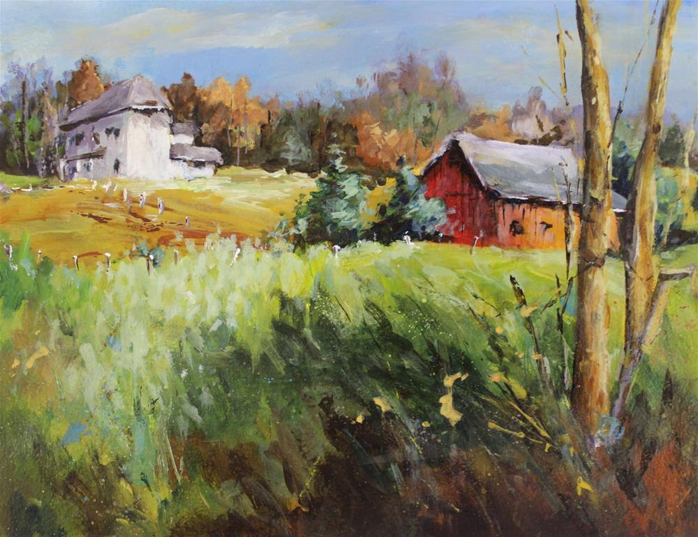 """Original acrylic barn landscape midwest painting"" original fine art by Alice Harpel"