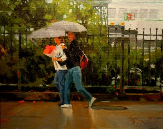 """Late for the Ferry  Seattle city scenes, figurative oil painting"" original fine art by Robin Weiss"