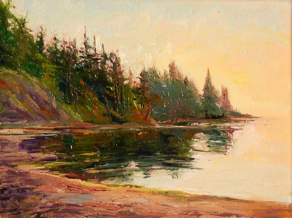 """Morning at Larrabee Cove,seascape,oil on canvas.9x12,price$500"" original fine art by Joy Olney"
