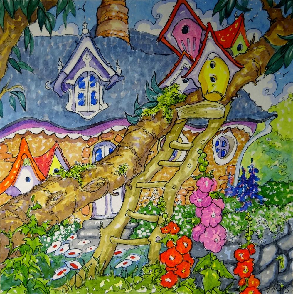 """""""A Cottage for Me and a Cottage for Thee Storybook Cottage Series"""" original fine art by Alida Akers"""