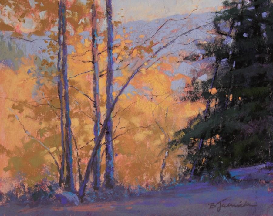 """The Aspens Below"" original fine art by Barbara Jaenicke"