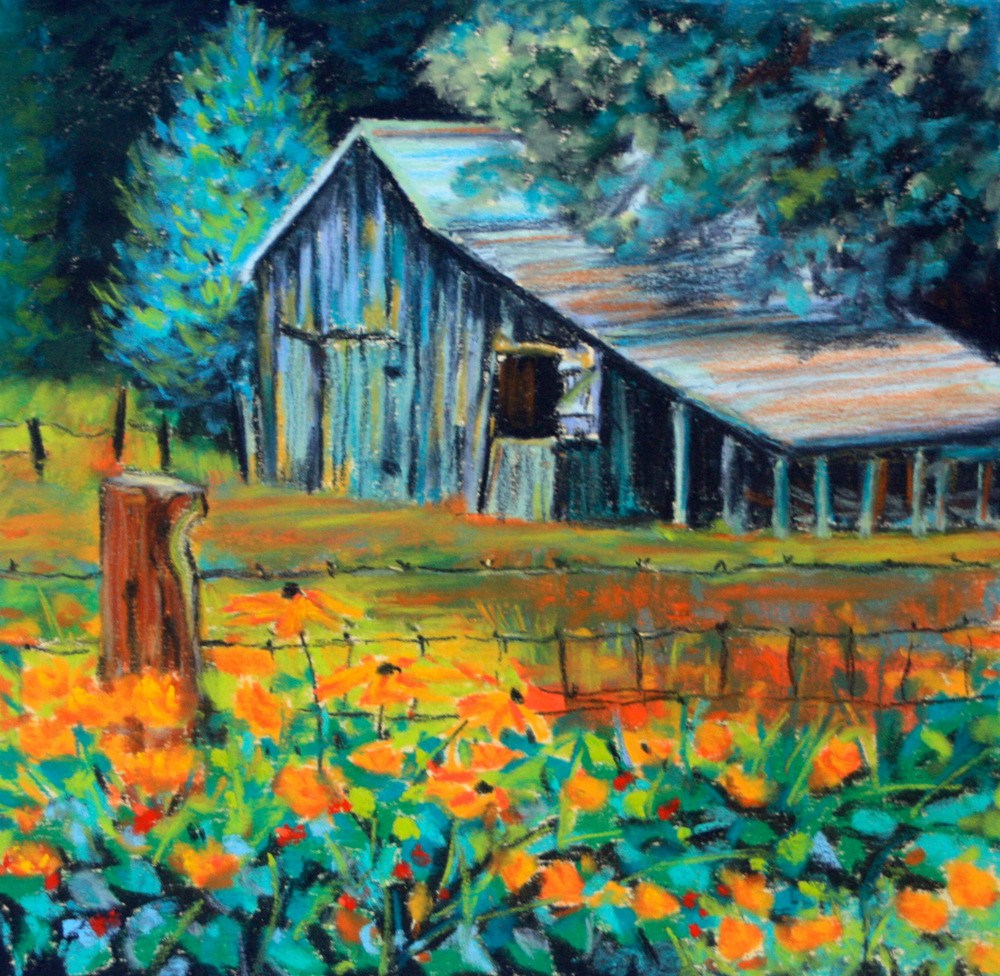 """""""Marigolds and Barbed Wire"""" original fine art by Jill Bates"""