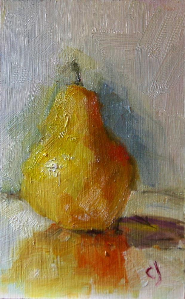 """Reflection of a pear"" original fine art by Carol Josefiak"