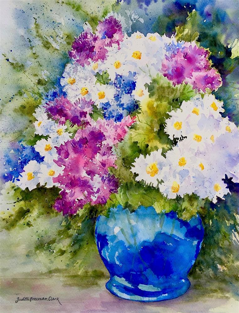 """Blue Glass Vase, framed"" original fine art by Judith Freeman Clark"