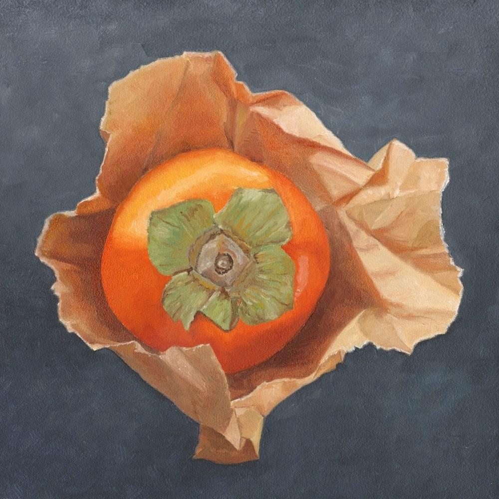"""Persimmon on Paper"" original fine art by Susan Fern"