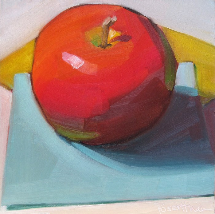 """Red Apple on Teal Square"" original fine art by Robin Rosenthal"