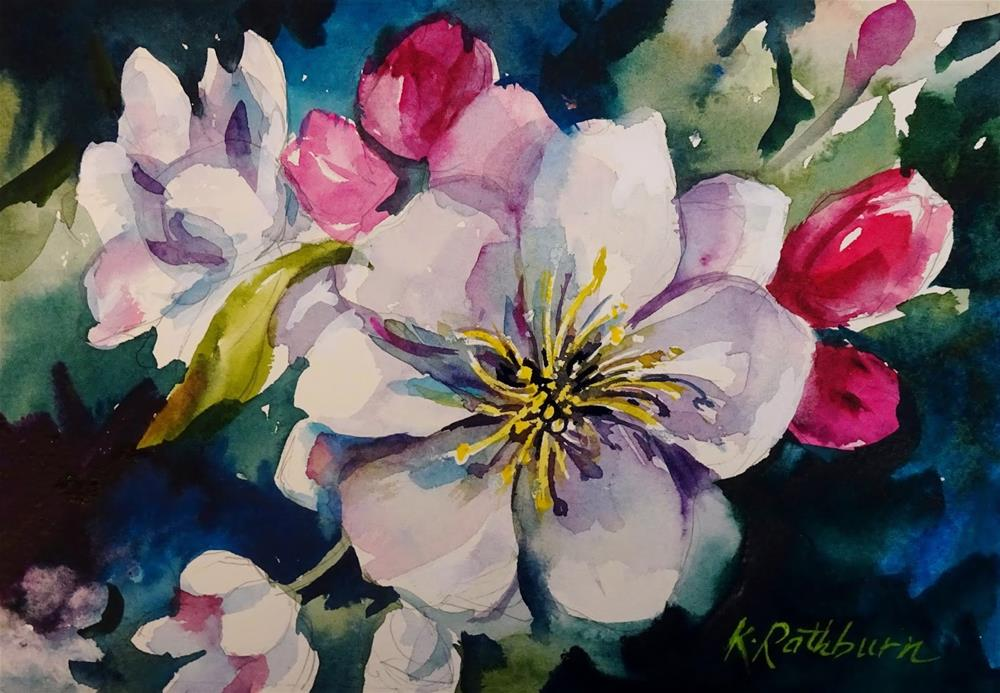 """White Blossoms"" original fine art by Kathy Los-Rathburn"
