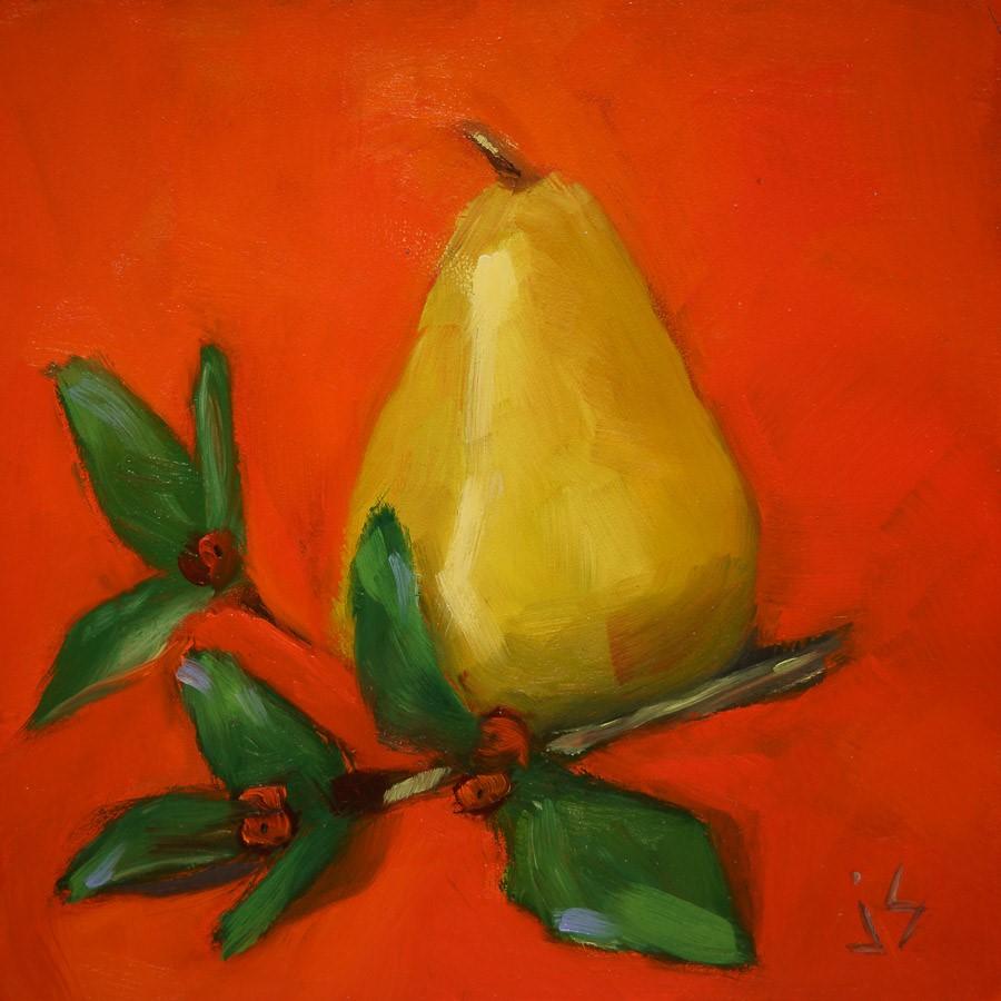 """Holiday Pear (unframed panel)"" original fine art by Johnna Schelling"