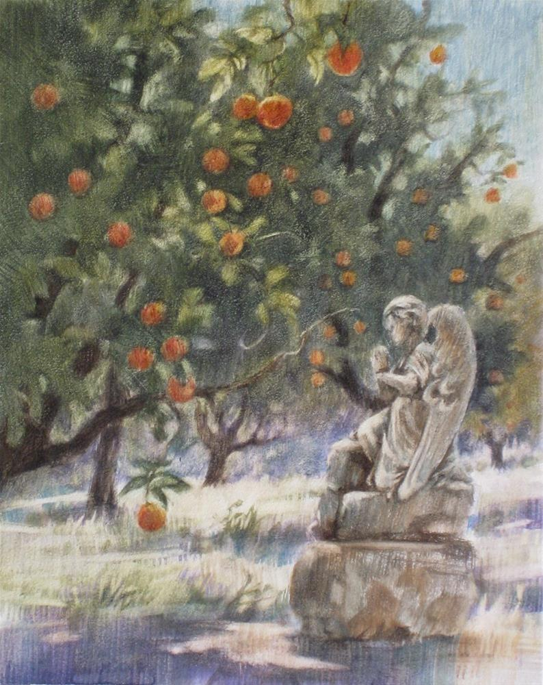 """Orange Grove with Statue II"" original fine art by Ginger Pena"