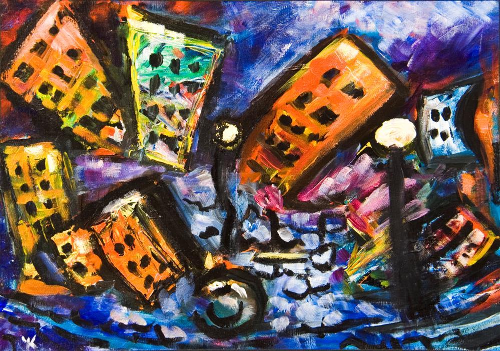 """Doomed City"" original fine art by Yulia Kazansky"