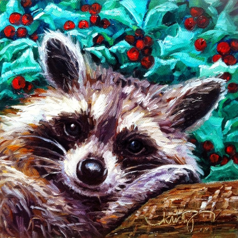 """""""CHRISTMAS COON"""" original fine art by Kristy Tracy"""