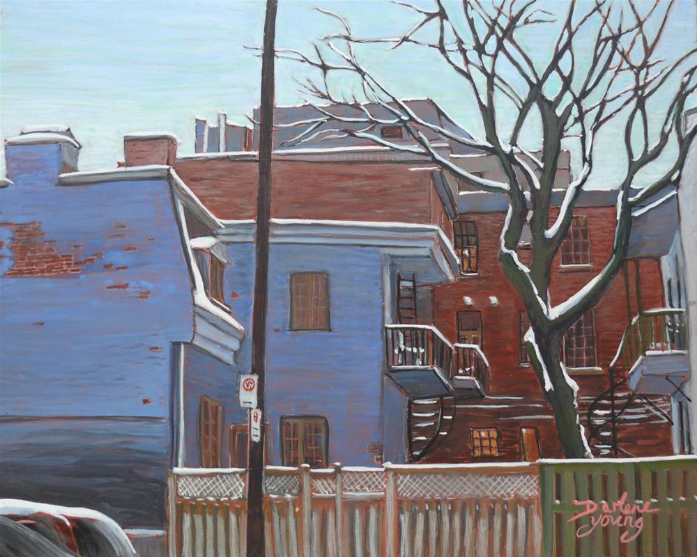 """1183 The Blue House, McGill Ghetto 8x10 egg tempera"" original fine art by Darlene Young"