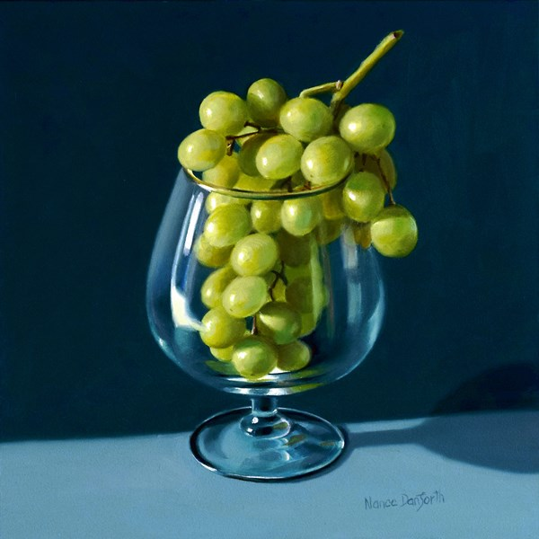 """Green Grapes in Brandy Snifter"" original fine art by Nance Danforth"