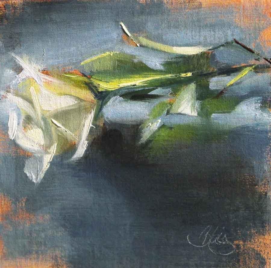 """White Rose on Blue, Too"" original fine art by Pamela Blaies"