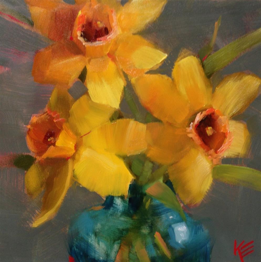 """Daffodils"" original fine art by Krista Eaton"