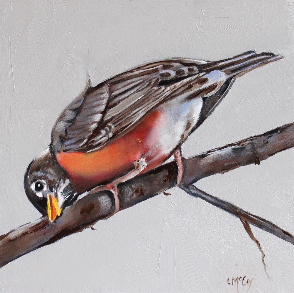 """Charmed, Robin Oil Painting"" original fine art by Linda McCoy"