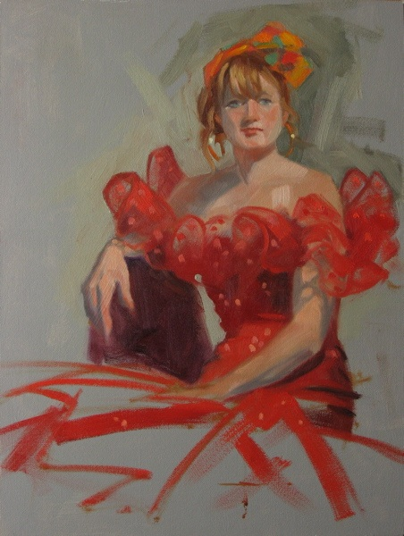 """""""Red sequin dress 9x12 oil on canvas"""" original fine art by Claudia Hammer"""