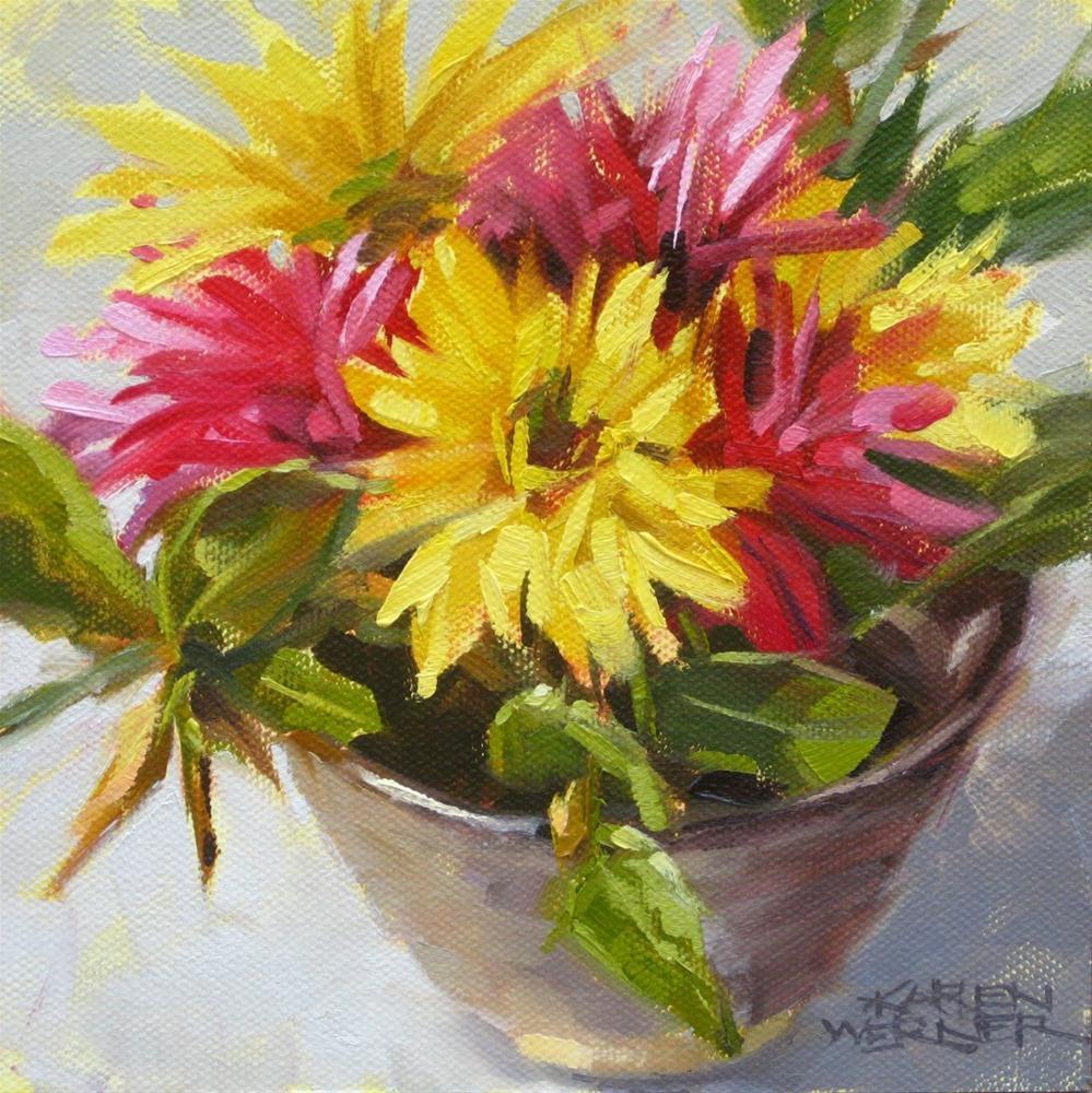 """""""Floral Bowl"""" original fine art by Karen Werner"""