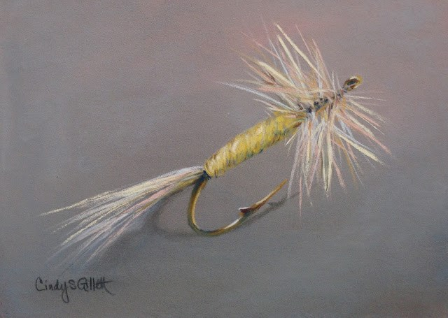 """Fly 23 - Pale Morning Dun Mayfly"" original fine art by Cindy Gillett"