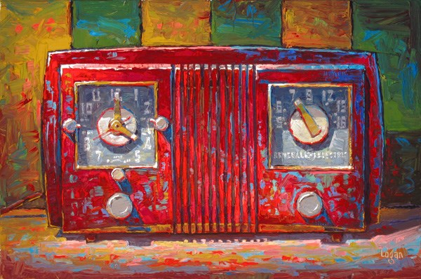 """GE Clock Radio Red and Square(ish)"" original fine art by Raymond Logan"