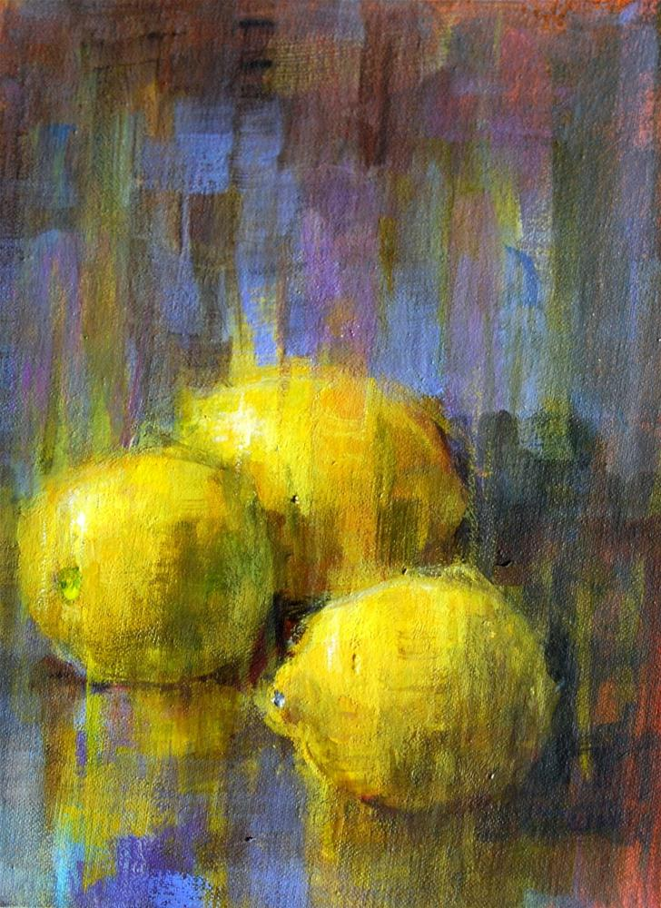 """Slow-dry Lemons"" original fine art by Julie Ford Oliver"