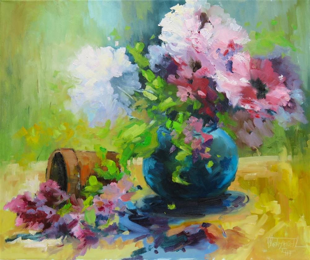 """Still life with turquoise vase"" original fine art by Christa Friedl"