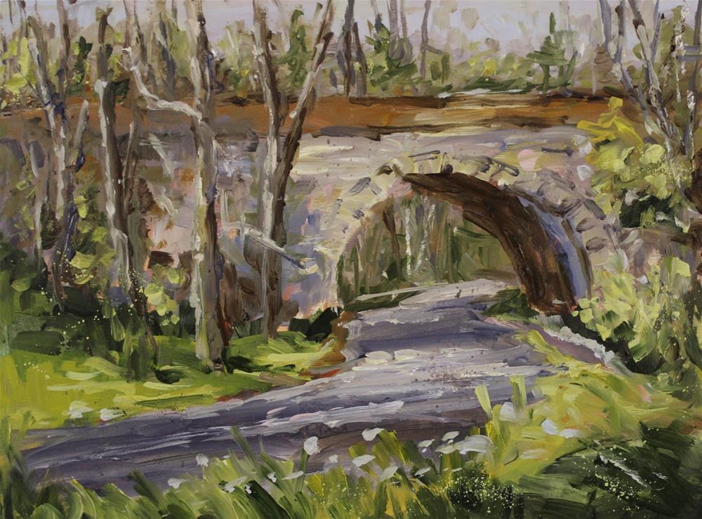 """""""Donnelley RR Trestle Oil Landscape Bridge Painting"""" original fine art by Alice Harpel"""