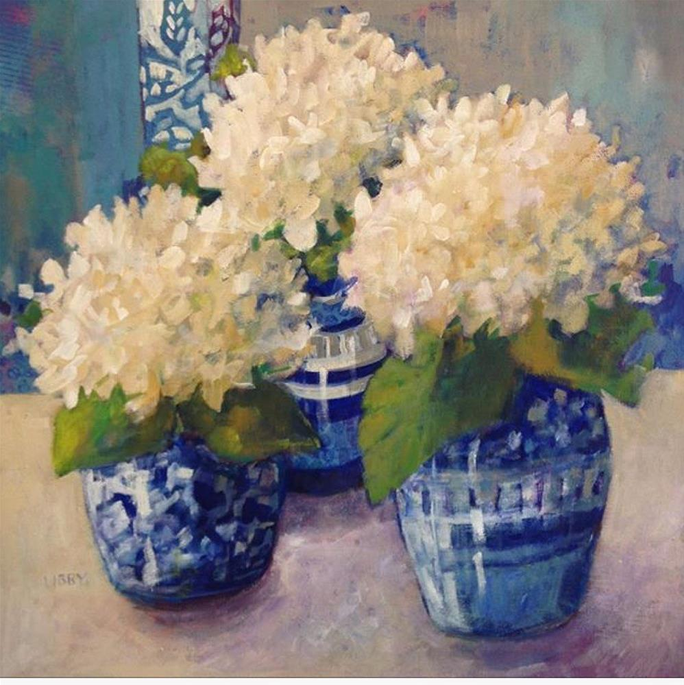 """White and Blue"" original fine art by Libby Anderson"