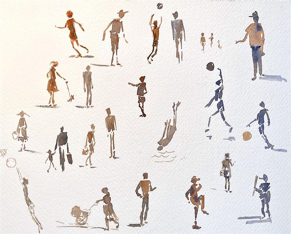 """Tiny Athletes, sketch"" original fine art by Judith Freeman Clark"