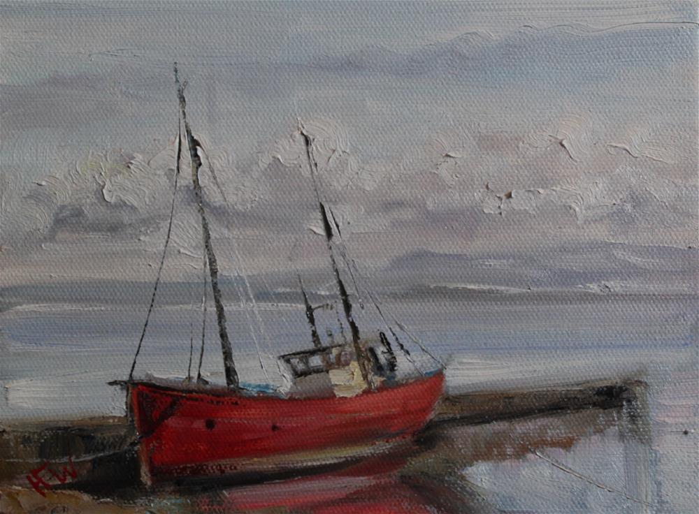 """Red Boat in Scotland"" original fine art by H.F. Wallen"