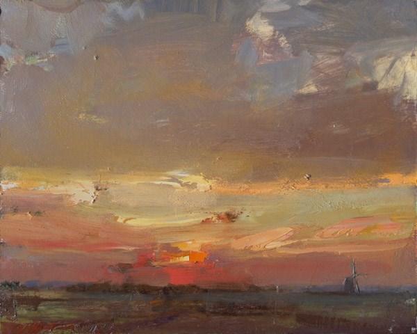 """""""Pleinair Sunrise in Autumn"""" original fine art by Roos Schuring"""