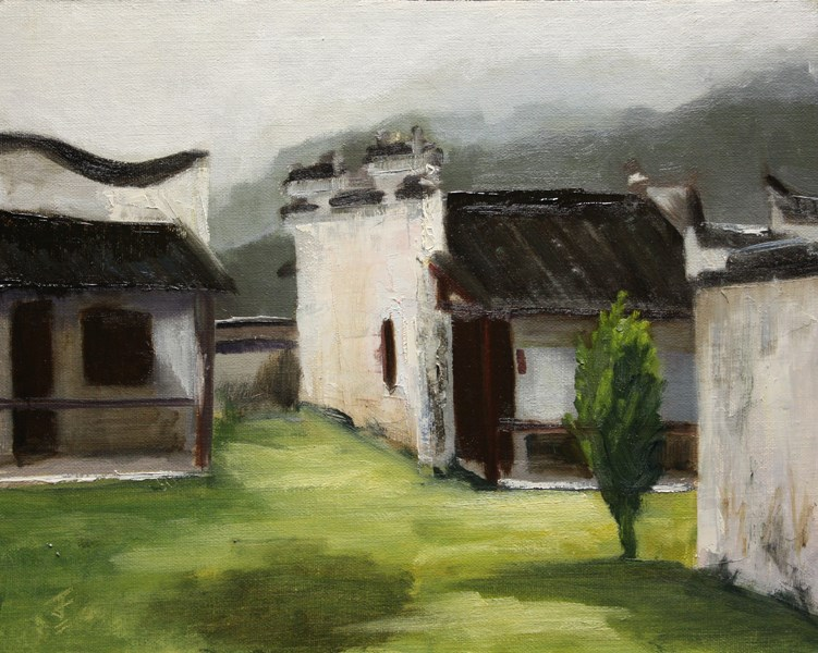 """Xidi Travel Lodge Cabins"" original fine art by Jane Frederick"