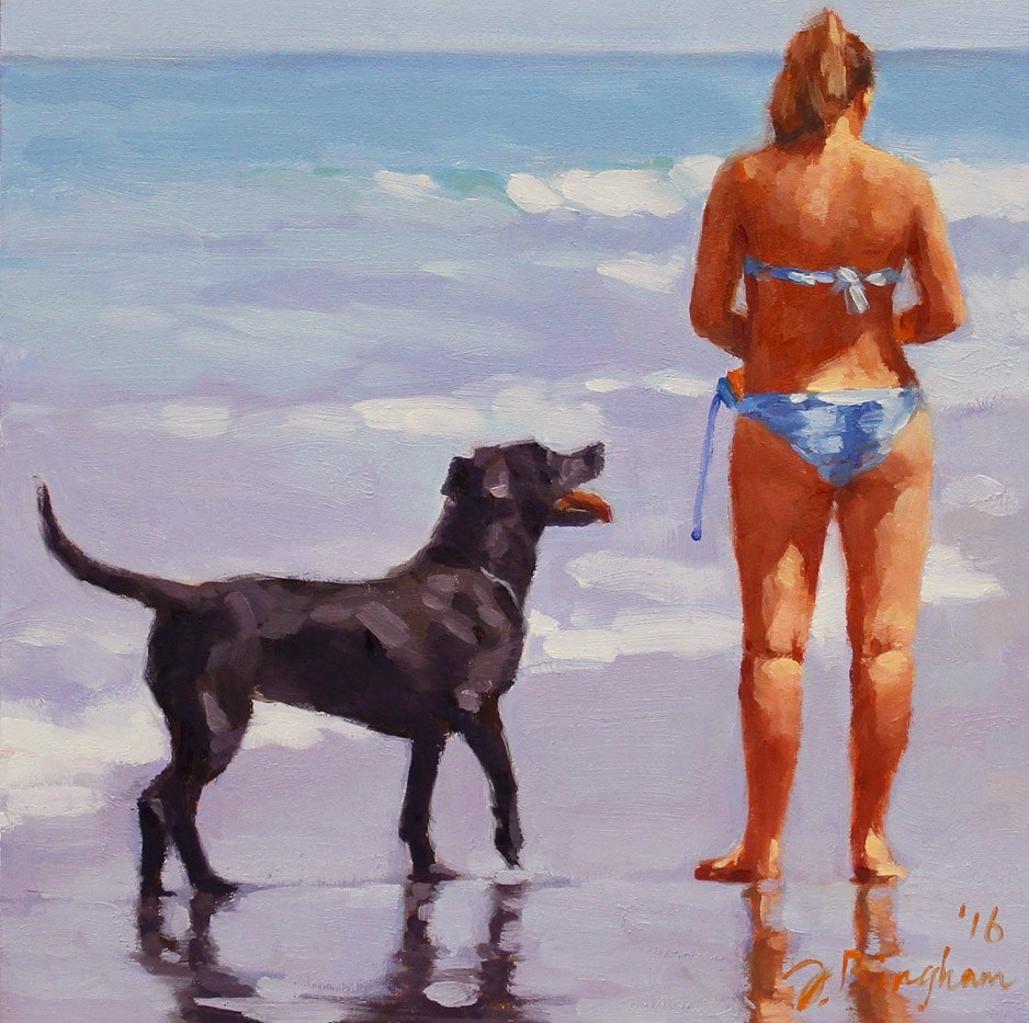 """""""Ready to Play -- Series Painting of Dogs & Owners on the Beach"""" original fine art by Joanna Bingham"""