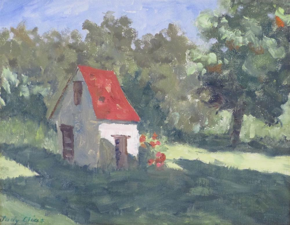 """A French Farmhouse"" original fine art by Judy Elias"