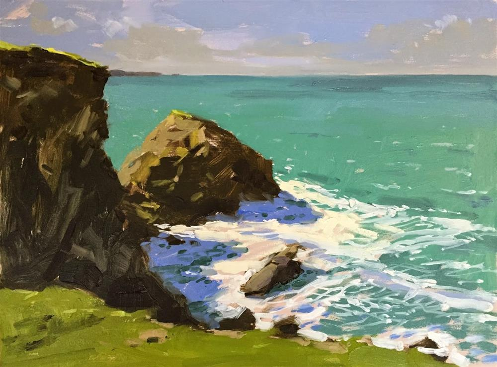 """Shadows at Bedruthan"" original fine art by Haidee-Jo Summers ROI"