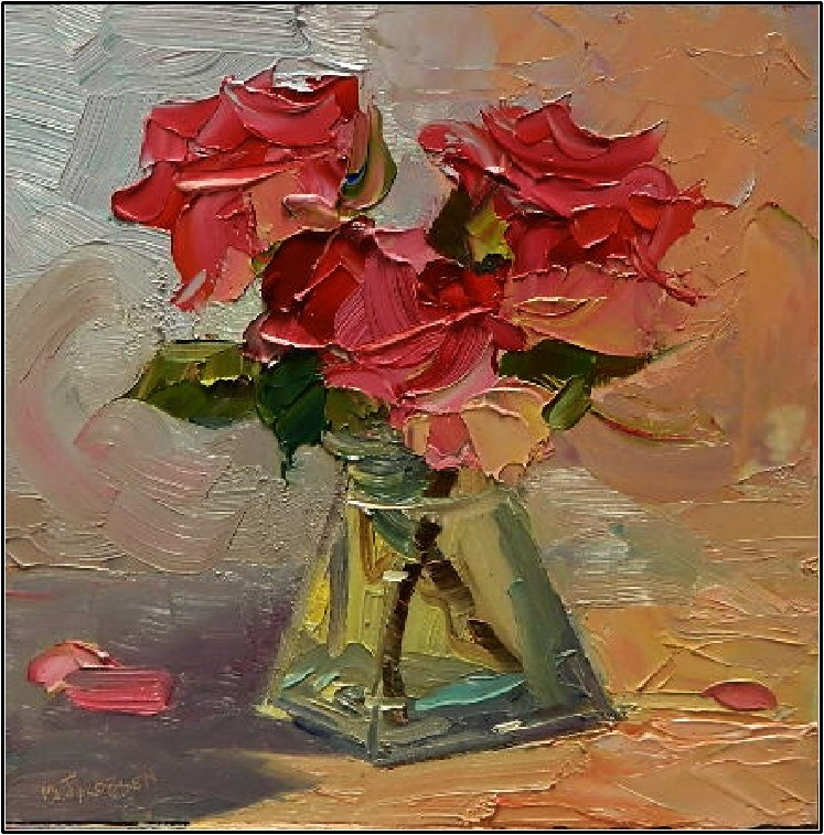"""""""Pas de Trois, 8x8 , oil on board, rose study, pink roses, three roses, roses in glass vase"""" original fine art by Maryanne Jacobsen"""