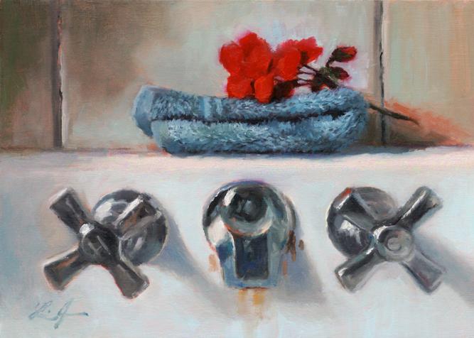 """Red Geranium Sprig"" original fine art by Linda Jacobus"