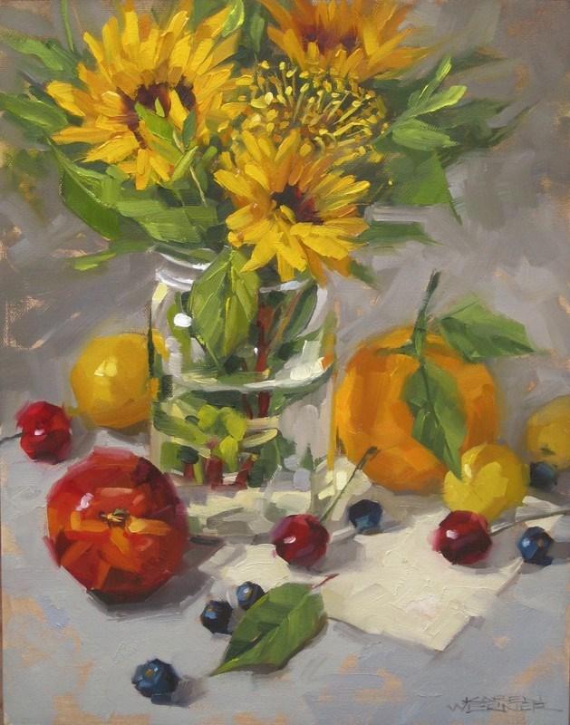 """""""Still Life With A Nectarine"""" original fine art by Karen Werner"""