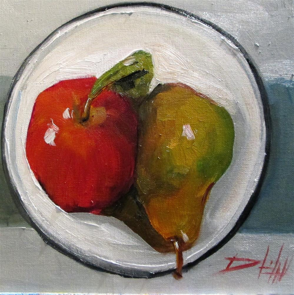 """""""Apple and Pear"""" original fine art by Delilah Smith"""