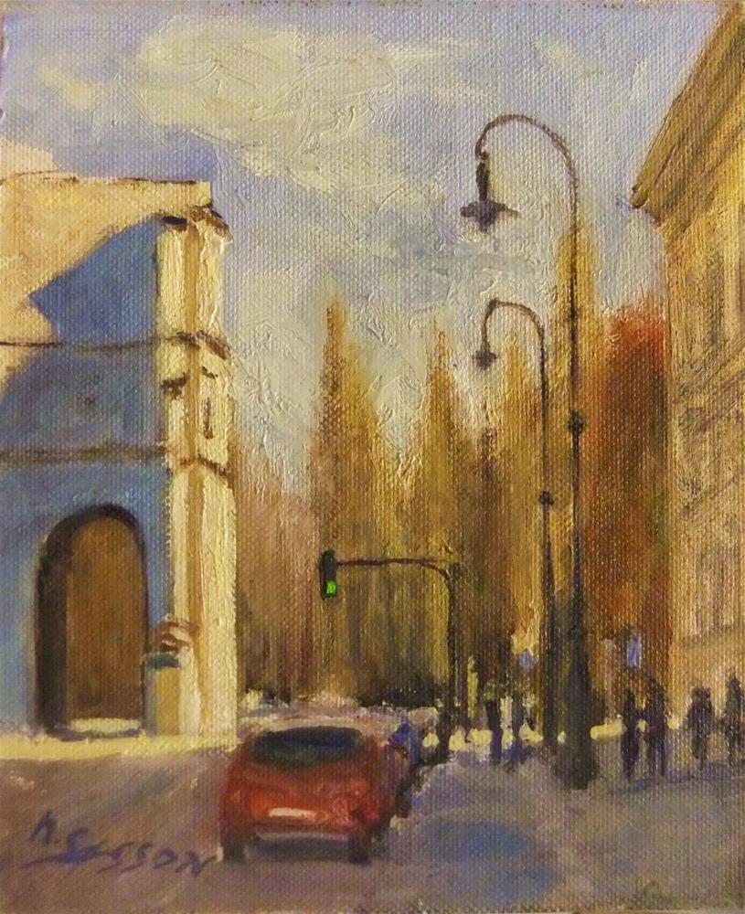 """Munich - Siegestor and Leopoldstraße"" original fine art by Michael Sason"