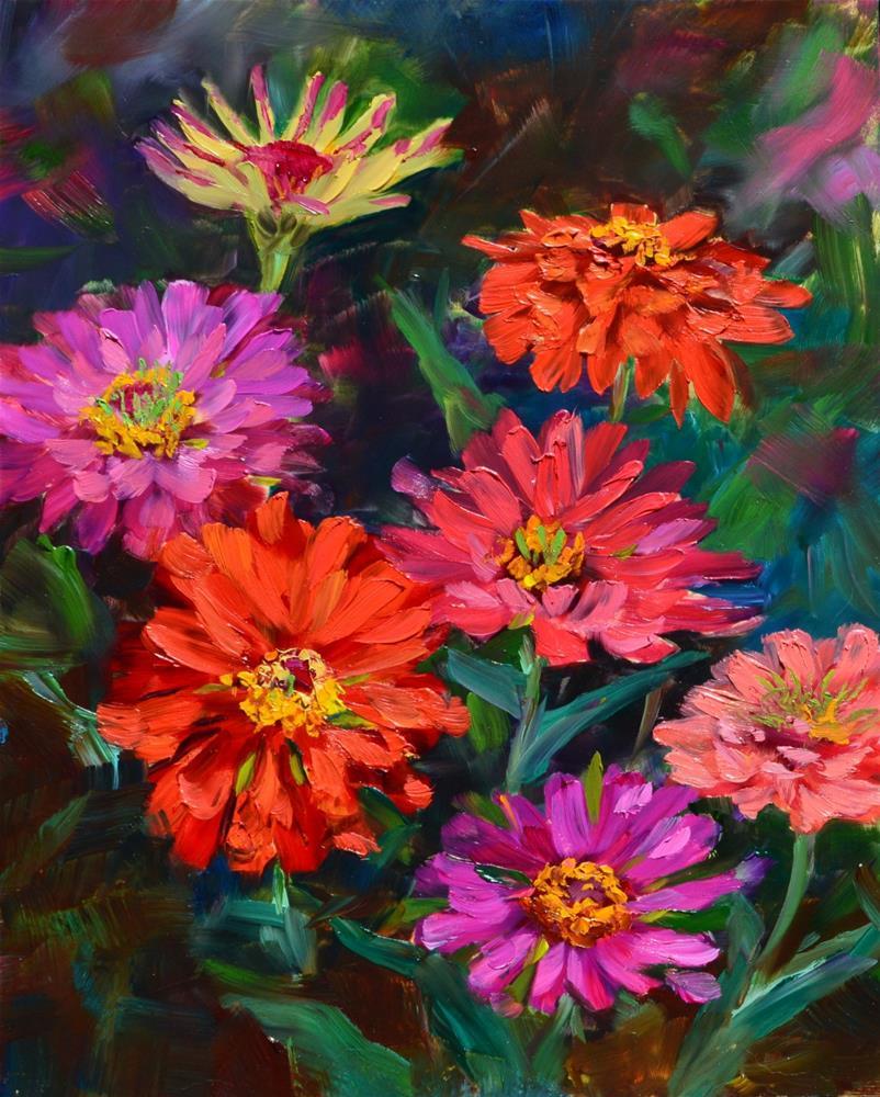 """Mama's Zinnias"" original fine art by Annetta Gregory"