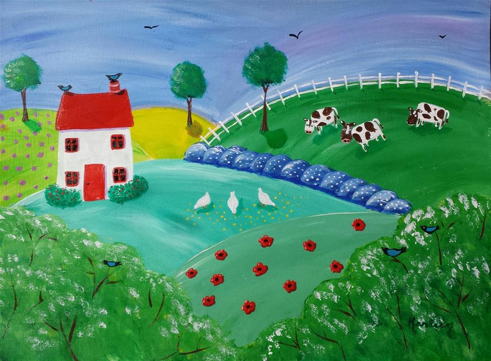 """Down on the Farm"" original fine art by Karleen Kareem"