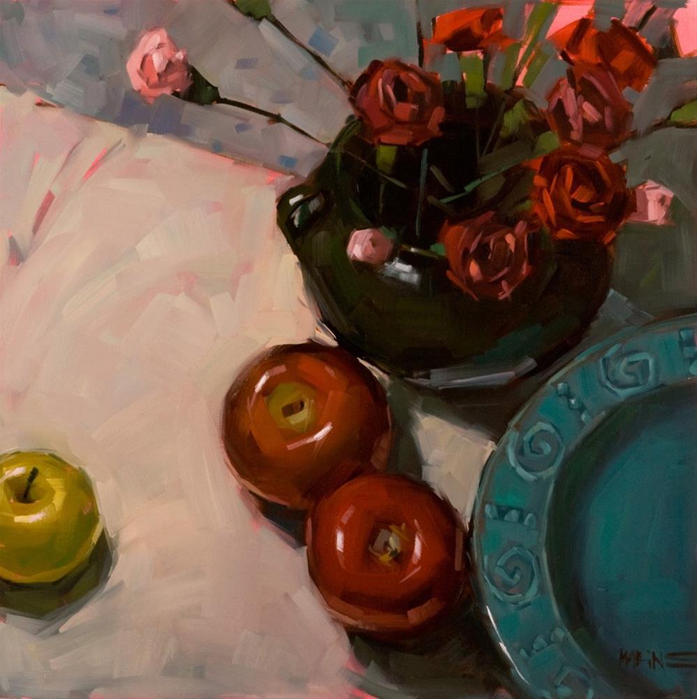 """Carnations and Apples"" original fine art by Carol Marine"