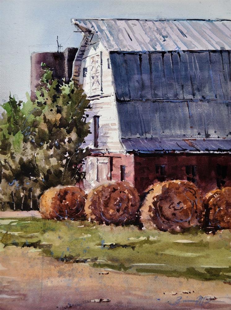 """""""Round the Hay Bales"""" original fine art by Brienne M Brown"""