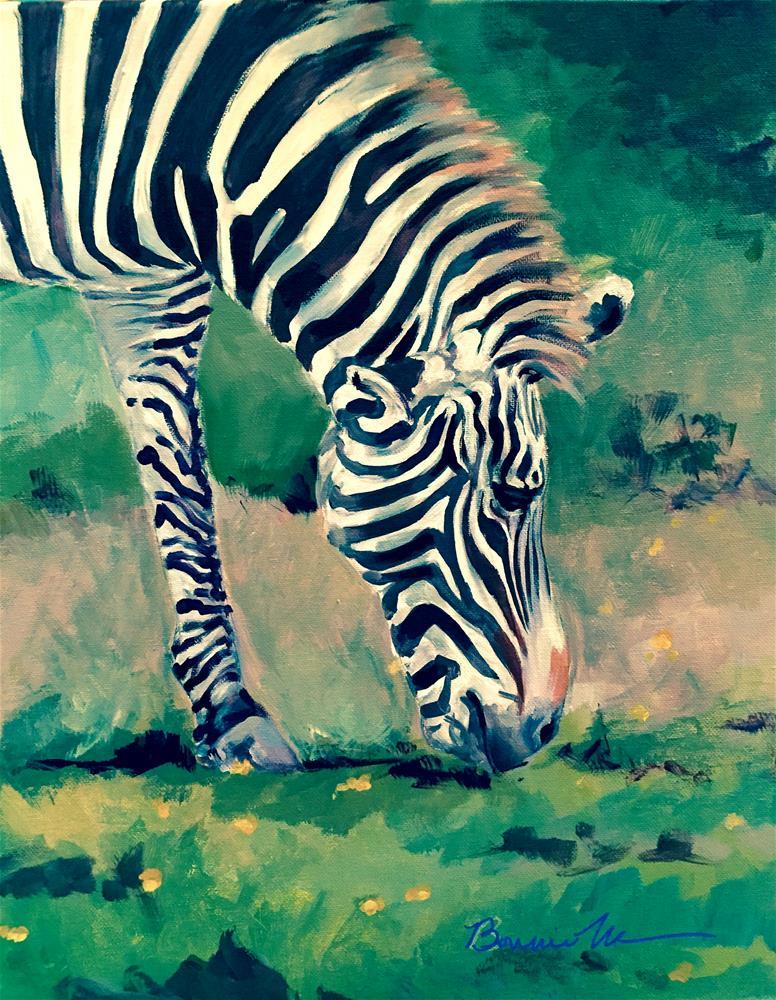 """Zebra at Ease"" original fine art by Bonnie Masdeu"